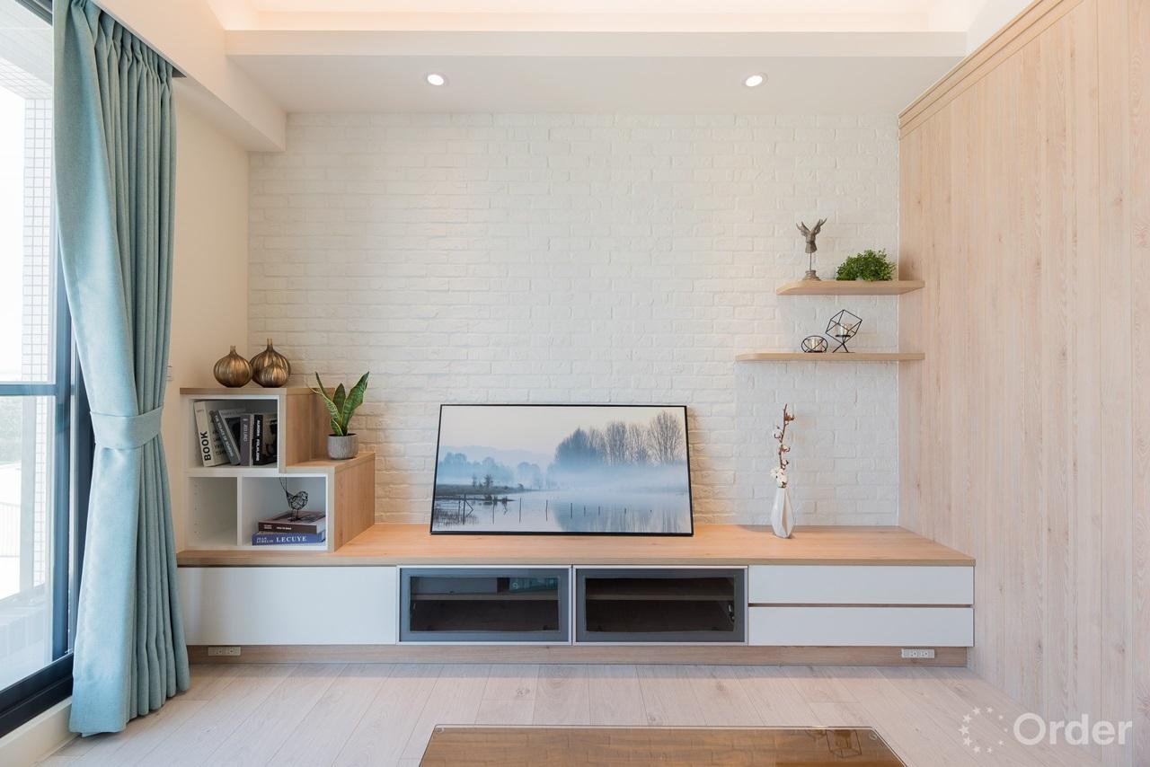 文化石電視牆面搭配系統櫃電視牆北歐風格客廳設計